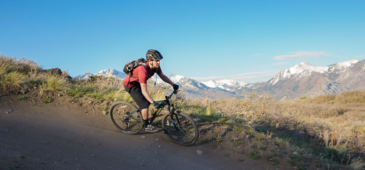 mountain biker in front of snow capped mountains landscape